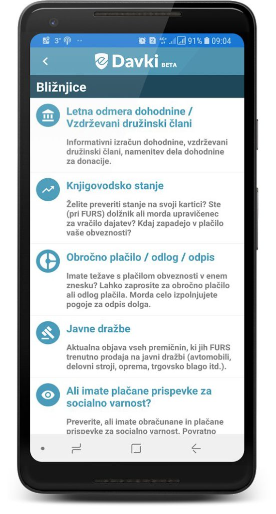 Edavki mobilna aplikacija