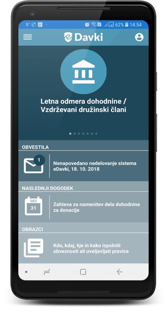 Edavki mobilna aplikacija - Mobilion